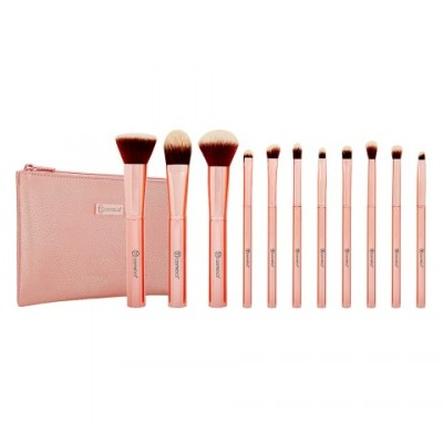 Metal Rose - 11 Piece Brush Set With Cosmetic Bag