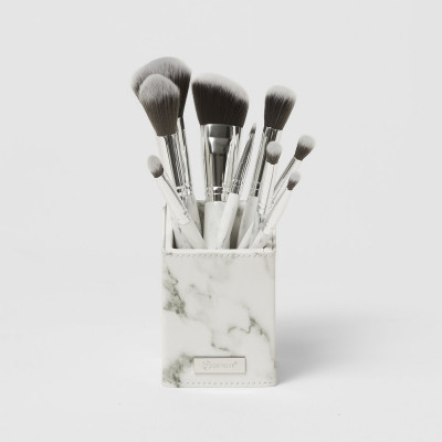 BH Cosmetics 9pc White Marble Brush Set With Holder