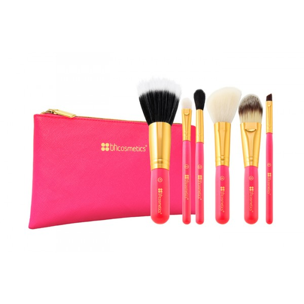 Neon Pink 6pc Brush Set (Travel Size) With Cosmetics Bag