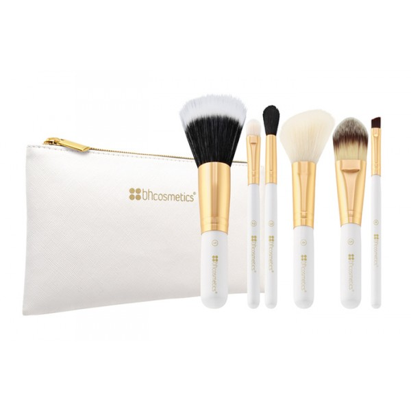 Bright White 6pc Brush Set (Travel Size) With Cosmetics Bag
