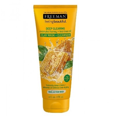 FREEMAN Deep Clearing Manuka Honey & Tea Tree Clay Mask Cleanser 6 fl oz